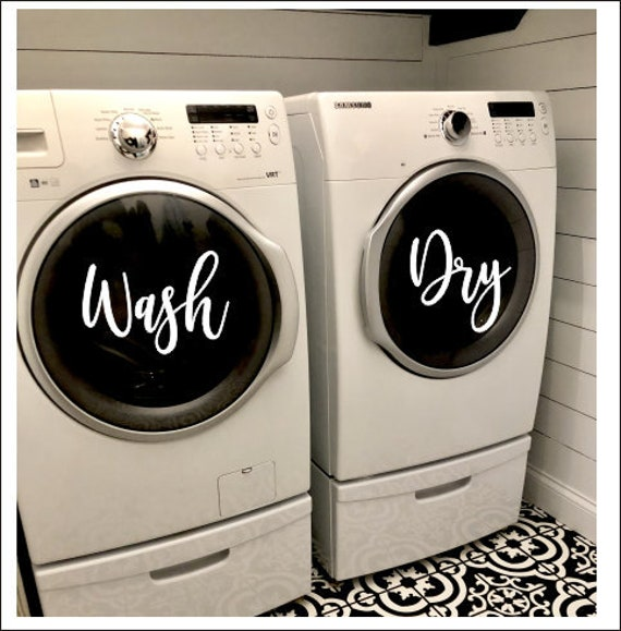 Set of 2 Laundy Organizer *344 Laundry Room Decals Wash and Dry Decals