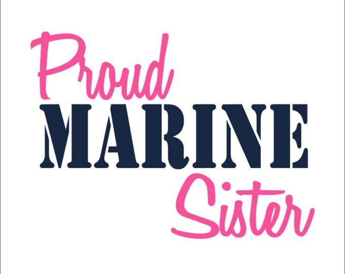 Proud Marine Sister Vinyl Car Decal Military Car Window Sticker Vinyl Decal Marine Everything Else