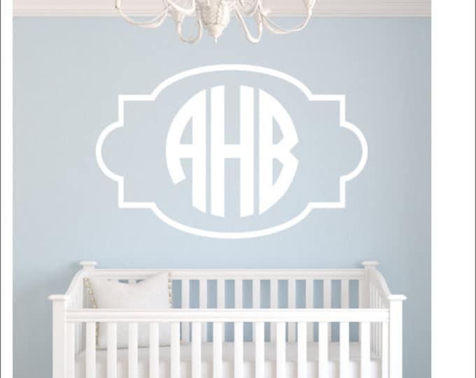 Monogram Wall Decal with Border Monogram Frame Vinyl Wall Decal Circle Block Monogram Boy Girl Nursery Bedroom Dorm Room Vinyl Wall Monogram