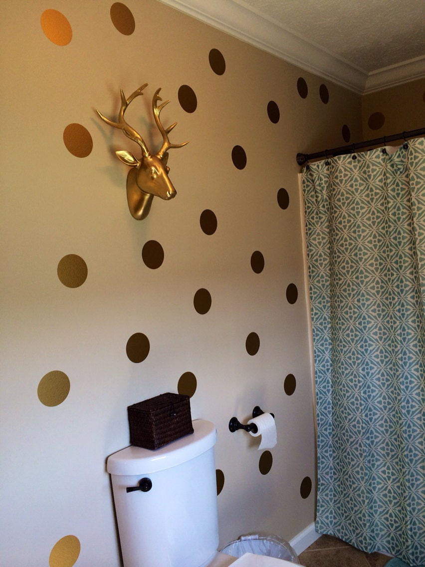 Gold Polka Dots Vinyl Wall Decals Gold Decals Gold Dot Etsy
