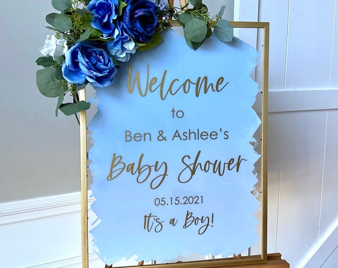Baby Shower Decal for Welcome Sign Making Vinyl Decal for Shower Baby Shower Sign Couples Baby Shower Welcome Vinyl Decal Blue Shower