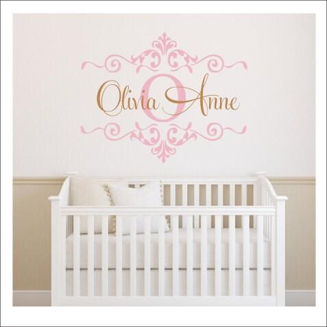 girls monogram decal nursery wall decal girls bedroom decal gold