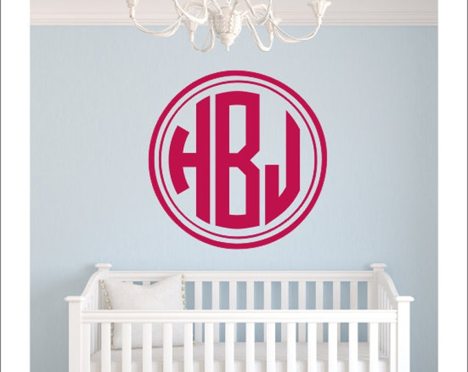 Monogram Wall Decal Circle Monogram Round Border Monogram Decal Boys Girls Nursery Decal Bedroom Decal Dorm Decal Personalized Preppy Decal