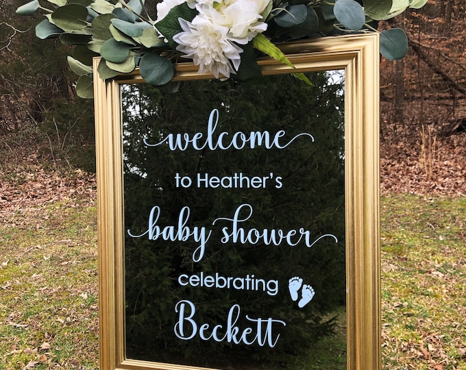 Decal for Baby Shower Mirror or Sign Welcome Baby Shower Vinyl Decal Baby Shower Sign Making Decal for Chalkboard Welcome Baby Decor
