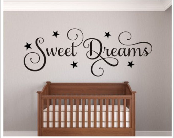 Sweet Dreams Decal Wall Decal with Stars Sweet Dreams Nursery Decal Bedroom Decal Children Kids New Baby Decal Wall Decor Celestial Decal
