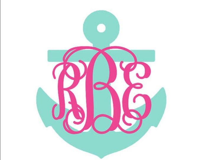 Anchor Monogram Decal Swirly Interlocking Vine Monogram Anchor Car Decal Nautical Custom Preppy Gift Everything Else