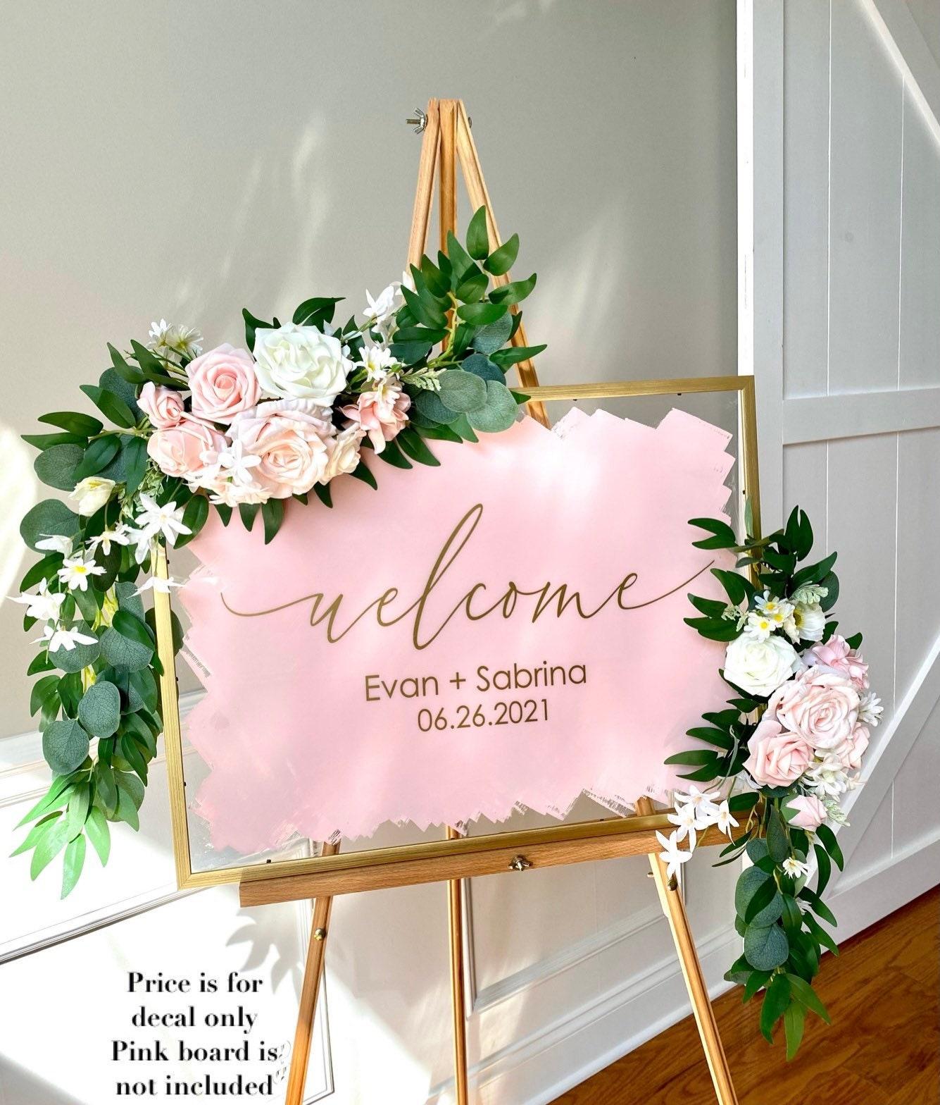 Mirror Plexiglass Vinyl Decal Sticker Hashtag Shower Wedding chalkboard Unplugged ceremony Personalised DIY Sign Couples Initials
