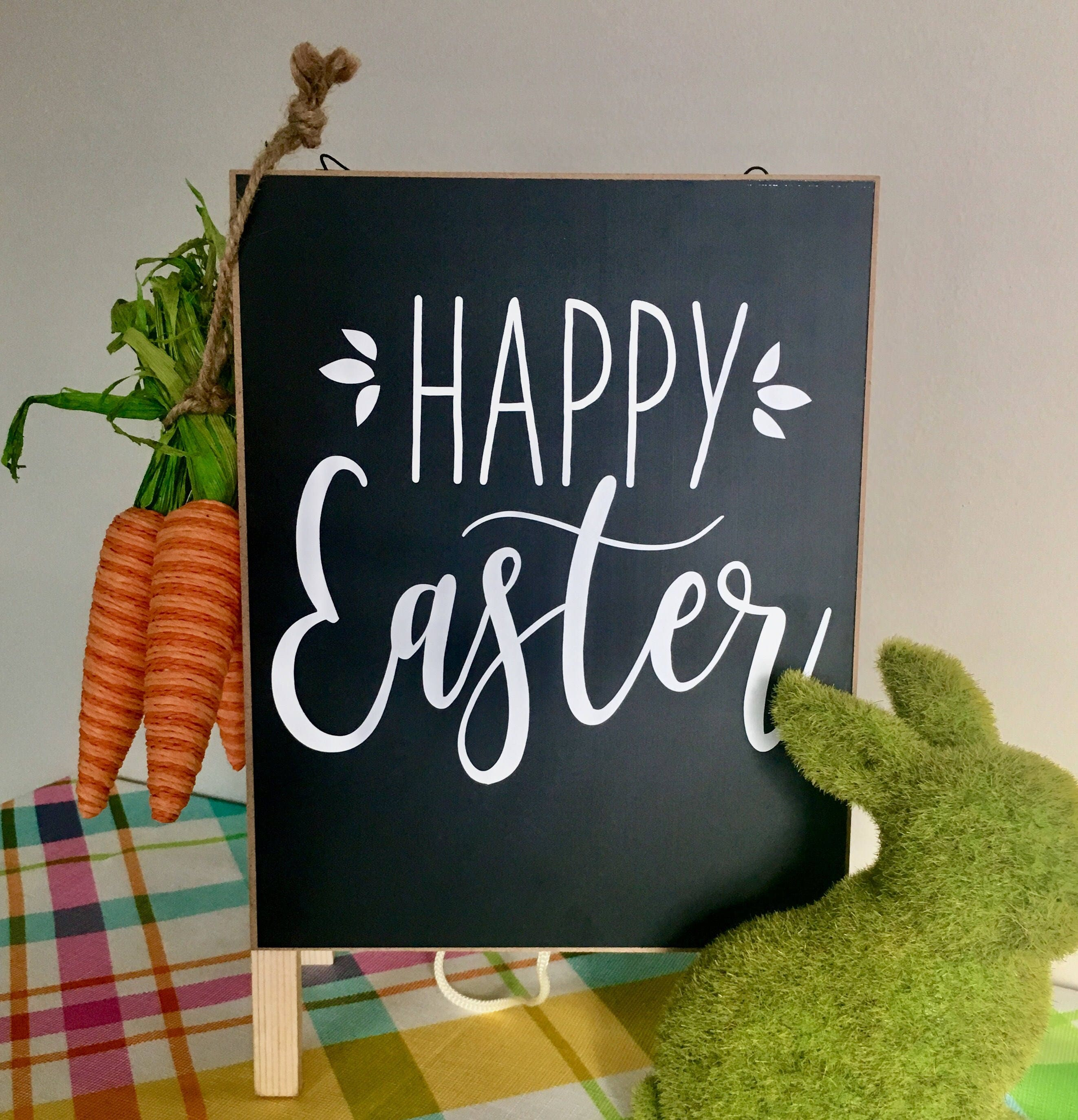 Happy Easter Decal Vinyl Decor Spring Decal Rustic Wall Decal