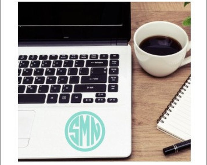 Circle Monogram Decal Small Vinyl Decal Monogram Decal Laptop Decal Personalized Decal Small Vinyl Preppy Monogram Decal Car Decal Cup Decal