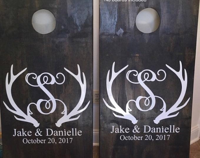 Antler Monogram Decals Cornhole Board Decals Vinyl Decals Wedding Board Decals Wedding Decor DIY Board Decals Hunting Wedding Personalized
