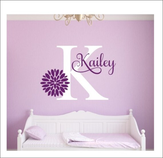 Girls Name Decal Flower Wall Decal Girls Bedroom Decal Vinyl | Etsy