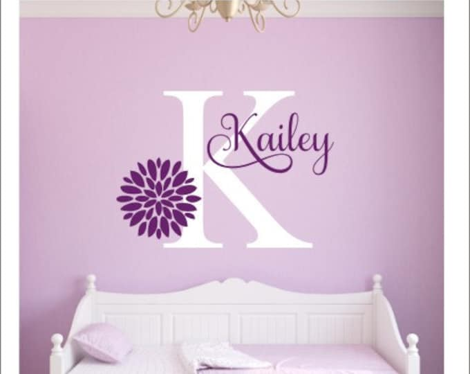 Girls Name Decal Flower Wall Decal Girls Bedroom Decal Vinyl Wall Decal Name Initial with Zinnia Flower Zinnia Decal Baby Girl Name Decal