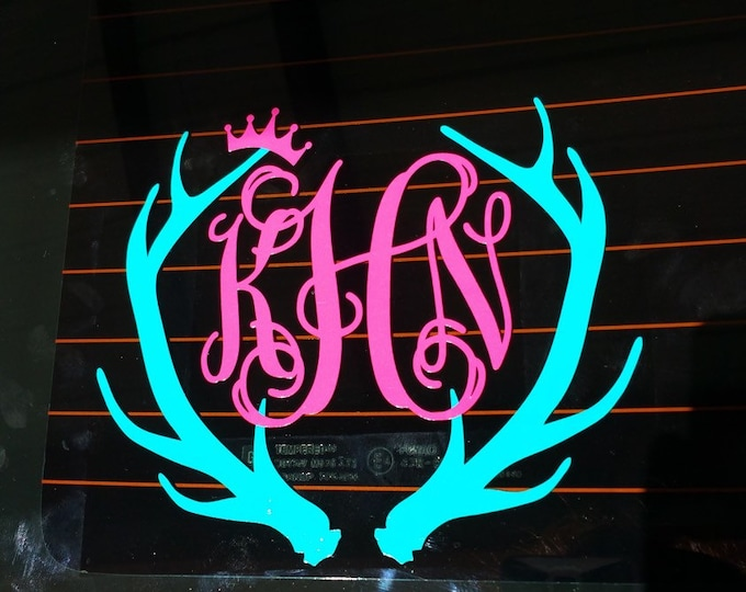 Antler Monogram Decal Car Decal Vinyl Car Decal Personalized Deer Buck Antlers Crown Princess Decal Preppy Southern Monogram Vinyl Decal