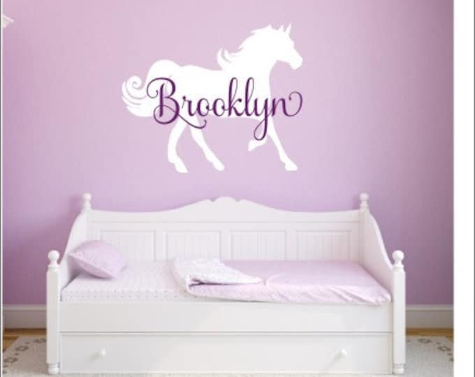 Large Horse Decal Horse Wall Decal Vinyl Horse Decal Girls Wall Decal Girls Horse Decal Vinyl Wall Decor Home and Living Nursery Room