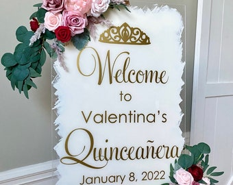 Quinceanera Decal for Acrylic Sign Making Vinyl Decal for Quinceeanera Party Welcome Decal for Chalkboard or Mirror Girls  15th Birthday