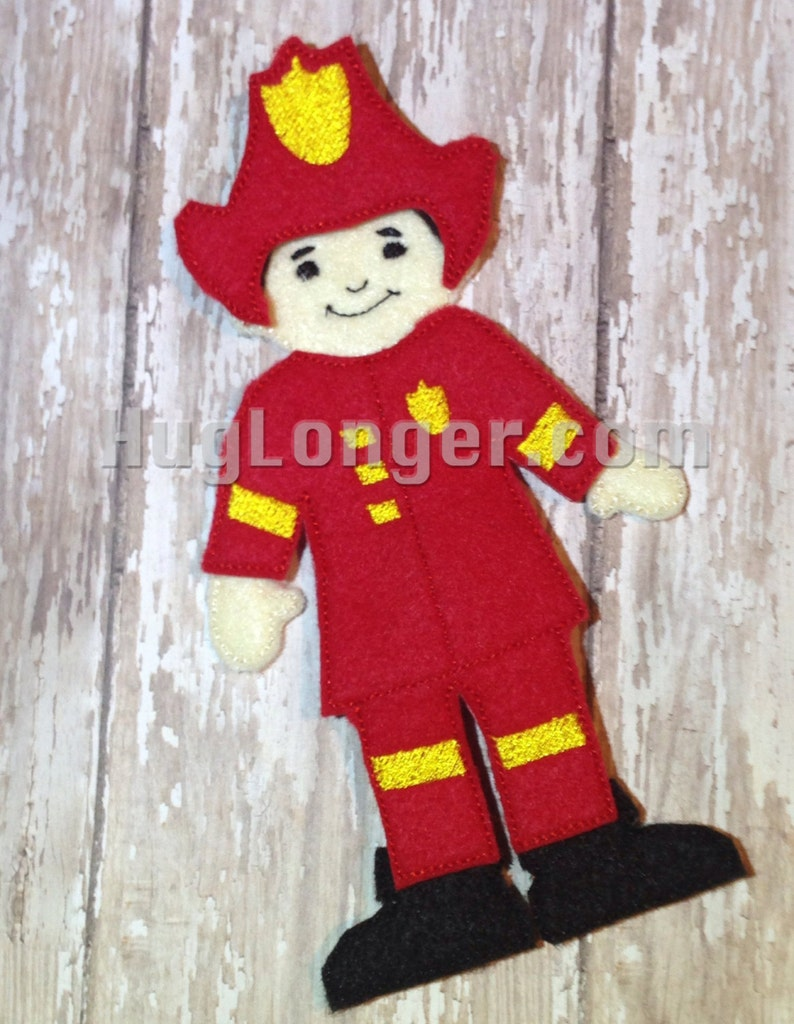 "Fireman felt ""paper"" doll ITH sewing project"