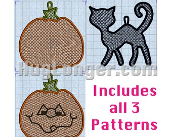 Free Standing Lace In The Hoop Halloween Ornaments/Gift Tags digital files for embroidery machine