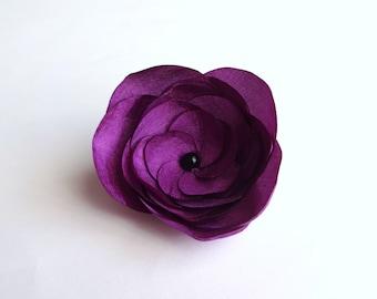 Plum Purple Silk Flower Embellishment