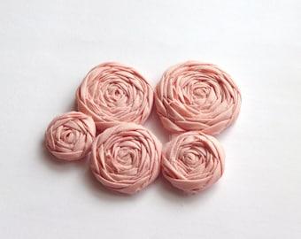 Apricot Fabric Rosettes Embellishment