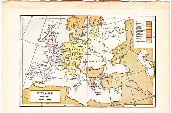 Items Similar To Old Map Of Europe About The Year 1400 A World