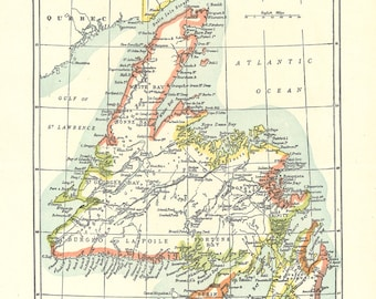 antique map of Newfoundland from the 1900's, antique home decor or unique gift idea