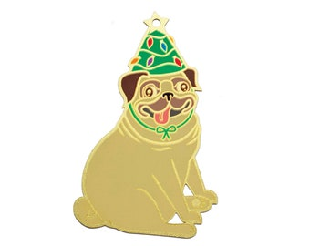 pug dog christmas ornament enamel christmas ornament pug dog lover gift christmas pug holiday pug gold christmas tree ornament