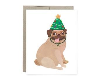 Pug Lover Christmas Card, Pug Lover Holiday Card, Christmas Tree, Pug Dog Christmas Card