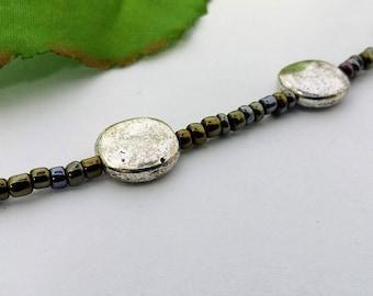 Bracelet, Beaded Bracelet, Silver Bracelet, Distressed Jewelry, Beaded Jewelry, Silver Jewelry, Distressed Silver,Silver Beads,Boho Bracelet