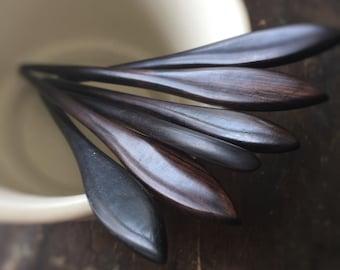 "Lotus Petal Black Wooden Hair Stick with No Hole - 7"" Solid Wood - Gorgeous Shawl Pin Fork Hair Stick  - Kanzashi"