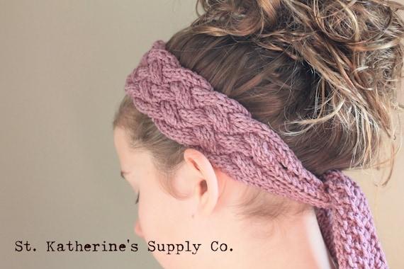 Pdf Knitting Pattern Marbella Cabled Head Wrap Scarf Etsy