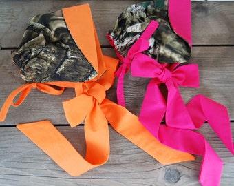 Handmade from Realtree Camo . Twins.. Baby Bonnet. Mossy Oak.Orange. Photo Prop.Hot pink. Twins.  Redneck baby shower. Camo Baby hat