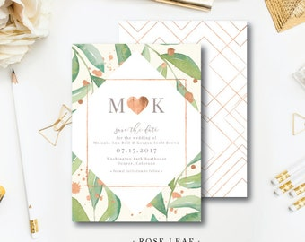 Rose Leaf Printed Save the Dates