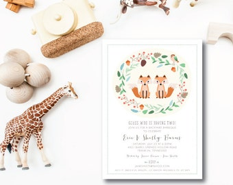 Woodland Foxes Invitations