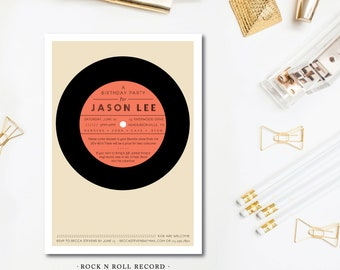 Rock and Roll Record Party Invitations