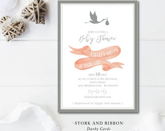 Stork and Ribbon Baby Shower Invitations