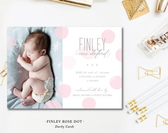Finley Rose Dot Birth Annoucements