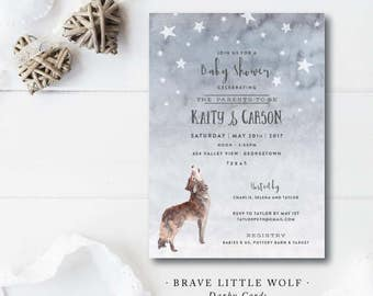 Brave Little Wolf Baby Shower Invitations