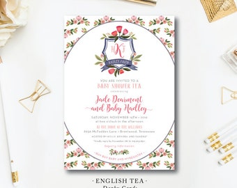 English Tea Printed Shower Invitations