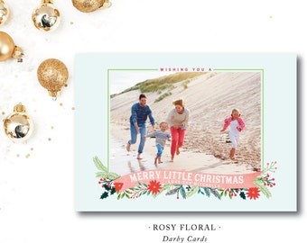 Rosy Floral Printed Holiday Cards