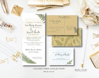 Golden Fern Printed Wedding Invitations