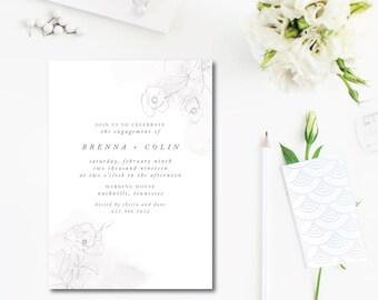 Faded Rose Printed Invitations