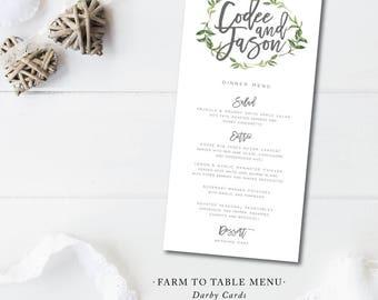 Farm to Table Menus