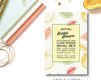 Sage and Citrus Shower Invitations