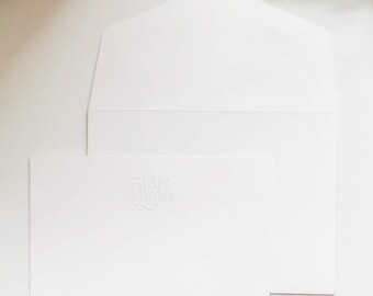 Embossed Classic Monogram Notecards