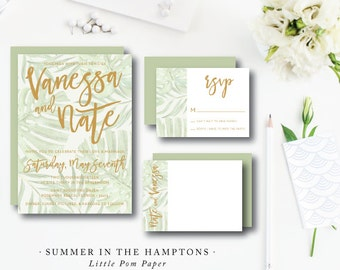 Set of 100 Invitations with Reply Card | Hampton Summer Design | Wedding Invitation & additional pieces | Printed by Darby Cards Collective
