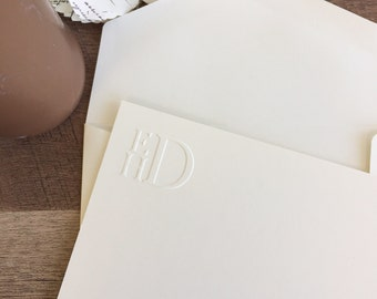Stacked Embossed Monogram Stationery