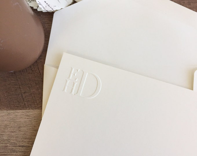 Featured listing image: Stacked Embossed Monogram Stationery