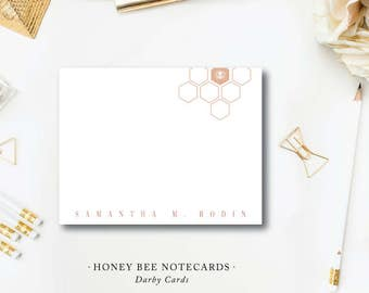 Honey Bee Stationery | Flat A2 Notes Printed Stationery with Blank Envelopes | Queen Bee Modern Design | Printed by Darby Cards