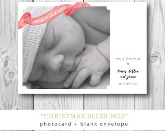 Christmas Blessings| Christmas or Holiday Card | Babys First Christmas | Silent Night | Printed and Printable by Darby Cards