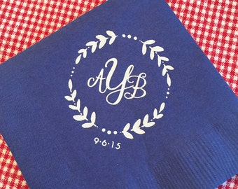Monogrammed Napkins Monogram Wreath | Wedding or Personalized Home Gift | Darby Cards